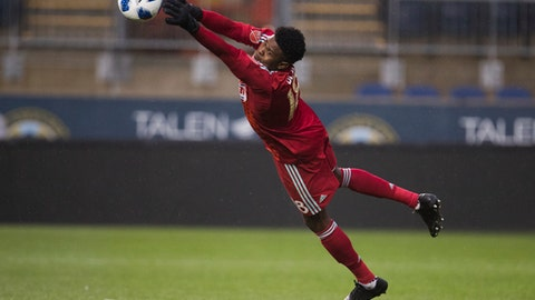 Philadelphia Union's Andre Blake makes the save during the first half of the team's MLS soccer match against Real Salt Lake, Saturday, May 19, 2018, in Chester, Pa. (AP Photo/Chris Szagola)