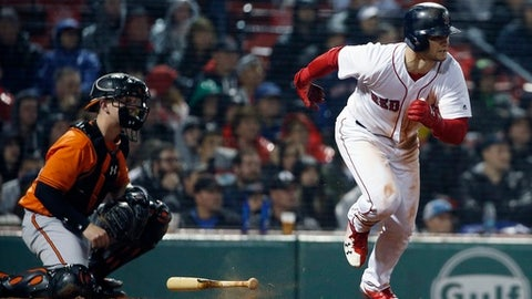 Boston Red Sox's Andrew Benintendi, right, runs on his two-run single in front of Baltimore Orioles' Chance Sisco during the seventh inning of a baseball game in Boston, Saturday, May 19, 2018. (AP Photo/Michael Dwyer)