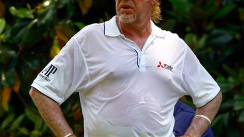 Miguel Angel Jimenez waits to tee off on the second hole during the final round of the Regions Tradition PGA Champions Tour golf tournament, Sunday, May 20, 2018, in Birmingham, Ala. (AP Photo/Butch Dill)