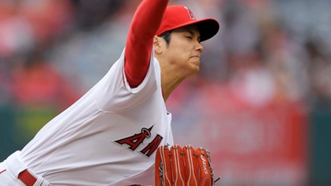 Los Angeles Angels starting pitcher Shohei Ohtani, of Japan, throws to the plate during the second inning of a baseball game against the Tampa Bay Rays, Sunday, May 20, 2018, in Anaheim, Calif. (AP Photo/Mark J. Terrill)