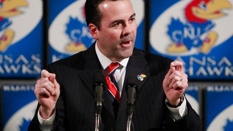 Sheahon Zenger speaks during a news conference at the University of Kansas in Lawrence, Kan., Monday, Jan. 3, 2011. Zenger has been named athletic director at Kansas. He is the former athletic director at Illinois State University. (AP Photo/Orlin Wagner)