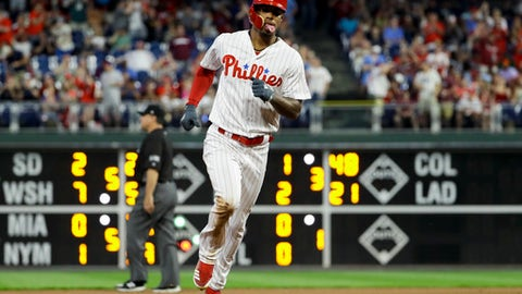 Philadelphia Phillies' Nick Williams rounds the bases after hitting a home run off Atlanta Braves starting pitcher Mike Foltynewicz during the fourth inning of a baseball game, Monday, May 21, 2018, in Philadelphia. (AP Photo/Matt Slocum)