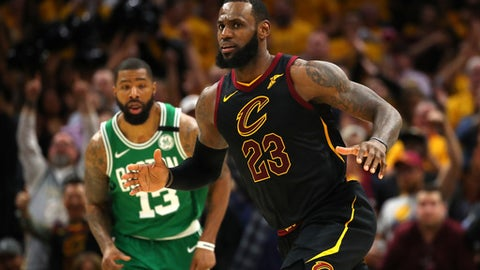 CLEVELAND, OH - MAY 21:  LeBron James #23 of the Cleveland Cavaliers reacts after a play in the fourth quarter against the Boston Celtics during Game Four of the 2018 NBA Eastern Conference Finals at Quicken Loans Arena on May 21, 2018 in Cleveland, Ohio. (Photo by Gregory Shamus/Getty Images)