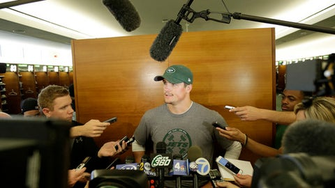 New York Jets quarterback Christian Hackenberg talks to reporters after a practice at the NFL football team's training camp in Florham Park, N.J., Tuesday, May 22, 2018. (AP Photo/Seth Wenig)