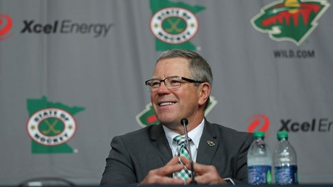 New Minnesota Wild NHL hockey team general manager Paul Fenton smiles during an introductory press conference in St. Paul, Minn., Tuesday, May 22, 2018. (Shari L. Gross/Star Tribune via AP)