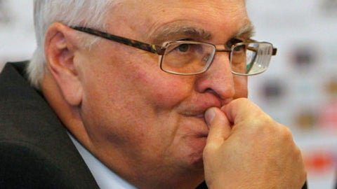 FILE- In this Nov. 23, 2009 file photo, the President of the German Soccer Federation Theo Zwanziger is seen in Frankfurt, as he talks to the media about the latest news concerning the football betting scandal. (AP Photo/Michael Probst, file)