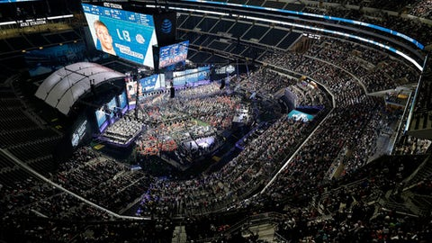 Boise State's Leighton Vander Esch is seen on the video screen after the Dallas Cowboys selected him during the first round of the NFL football draft, Thursday, April 26, 2018, in Arlington, Texas. (AP Photo/David J. Phillip)