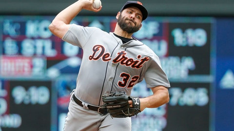 Detroit Tigers starting pitcher Michael Fulmer throws to the Minnesota Twins in the first inning of a baseball game Wednesday, May 23, 2018, in Minneapolis. (AP Photo/Bruce Kluckhohn)