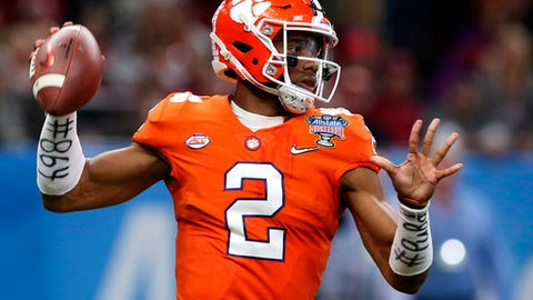 FILE - In this Jan. 1, 2018, file photo, Clemson quarterback Kelly Bryant (2) passes in the first half of the Sugar Bowl NCAA college football bowl game against Alabama, in New Orleans. In a conference in which the only new head coach wasted no time getting comfortable in his new position and Louisville developed a replacement for its only Heisman Trophy winner, the main subplot revolved around the seemingly secure QBs who are trying to keep their jobs. (AP Photo/Rusty Costanza, File)