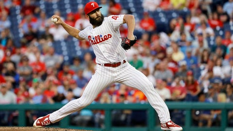 Philadelphia Phillies' Jake Arrieta pitches during the third inning of a baseball game against the Atlanta Braves, Wednesday, May 23, 2018, in Philadelphia. (AP Photo/Matt Slocum)