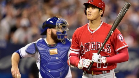 Los Angeles Angels' Shohei Ohtani reacts after he struck out looking during the seventh inning of a baseball game against the Toronto Blue Jays in Toronto on Wednesday, May 23, 2018. (Frank Gunn/The Canadian Press via AP)