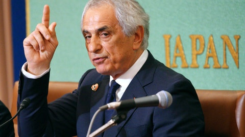 FILE - In this April 27, 2018, file photo, former Japanese national soccer coach Vahid Halilhodzic speaks during his press conference in Tokyo. Halilhodzic filed a suit on Thursday, May 24, 2018,  in Tokyo against the Japan Football Association, saying the dismissal damaged his honor and reputation.(AP Photo/Eugene Hoshiko, File)