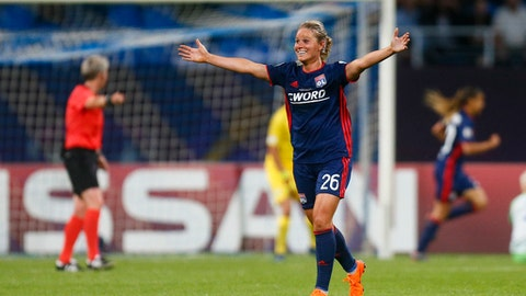 Lyon's Amandine Henry jubilates after scoring during the the UEFA Women's Champions League Final soccer match between Lyon and Wolfsburg at the Valeriy Lobanovskiy stadium in Kiev, Ukraine, Thursday, May 24, 2018. (AP Photo/Efrem Lukatsky)