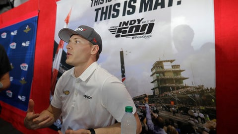 Josef Newgarden speaks during a media availability for the IndyCar Indianapolis 500 auto race at Indianapolis Motor Speedway, in Indianapolis Thursday, May 24, 2018. (AP Photo/Darron Cummings)