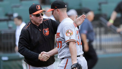 Baltimore Orioles manager Buck Showalter, left, congratulates starting pitcher Dylan Bundy after his complete game, 9-3 win over the Chicago White Sox after a baseball game Thursday, May 24, 2018, in Chicago. (AP Photo/Charles Rex Arbogast)