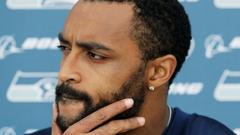 Seattle Seahawks wide receiver Doug Baldwin talks to reporters following NFL football practice, Thursday, May 24, 2018, in Renton, Wash. (AP Photo/Ted S. Warren)