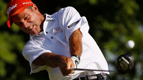 Stuart Smith hits a drive on the 10th hole during the first round of the PGA Championship golf tournament Thursday, Aug. 11, 2011, at the Atlanta Athletic Club in Johns Creek, Ga. (AP Photo/Matt Slocum)