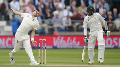 England's James Anderson bowls to Pakistan's Haris Sohail during the second day of play of the first test cricket match between England and Pakistan at Lord's cricket ground in London, Friday, May 25, 2018. (AP Photo/Alastair Grant)