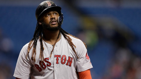 FILE - In this May 24, 2018, file photo, Boston Red Sox's Hanley Ramirez is shown during the first inning of a baseball game against the Tampa Bay Rays, in St. Petersburg, Fla. The Red Sox have designated Hanley Ramirez for assignment to make room for Dustin Pedroia on the 25-man roster as he returns from the disabled list.(AP Photo/Chris O'Meara, File)
