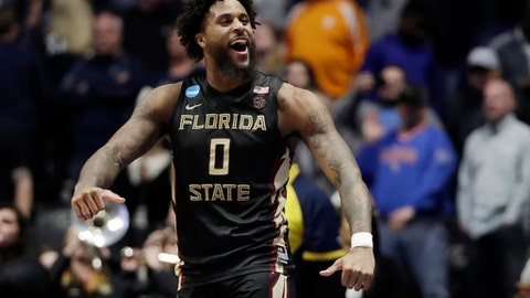 FILE - In this March 18, 2018, file photo, Florida State forward Phil Cofer (0) celebrates after defeating Xavier in a second-round game in the NCAA college basketball tournament in Nashville, Tenn. Cofer, who helped lead the Seminoles to the Elite Eight last season, has been granted a fifth season of eligibility by the NCAA. (AP Photo/Mark Humphrey, File)