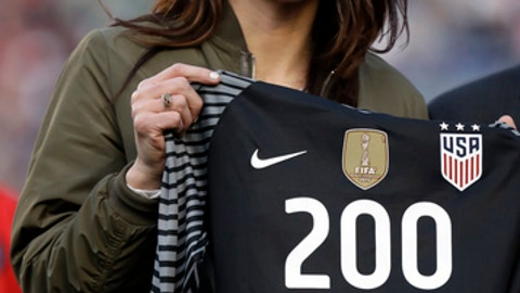 Former U.S. goalkeeper Hope Solo poses with a jersey with the number 200 before an international friendly soccer match between the United States and Denmark on Sunday, Jan. 21, 2018, in San Diego. Solo appeared in 202 games for the national team, most for any goalkeeper in U.S. history. (AP Photo/Gregory Bull)