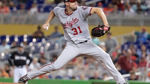 Washington Nationals starting pitcher Max Scherzer delivers during the third inning of a baseball game against the Miami Marlins, Friday, May 25, 2018, in Miami. (AP Photo/Lynne Sladky)