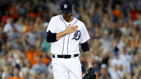 Detroit Tigers relief pitcher Shane Greene reacts after the final out in the ninth inning of a baseball game against the Chicago White Sox in Detroit, Friday, May 25, 2018. (AP Photo/Paul Sancya)