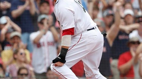 Boston Red Sox's Dustin Pedroia shouts out after scoring a run against the Atlanta Braves during the third inning of a baseball game at Fenway Park in Boston Saturday, May 26, 2018. (AP Photo/Winslow Townson)
