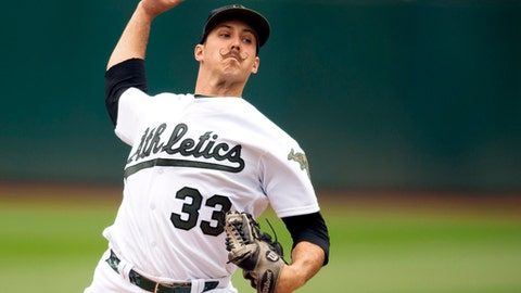 Oakland Athletics starting pitcher Daniel Mengden (33) throws during the first inning of a baseball game against the Arizona Diamondbacks, Saturday, May 26, 2018, in Oakland, Calif. (AP Photo/D. Ross Cameron)