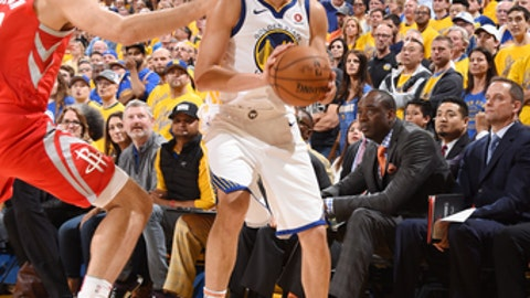 OAKLAND, CA - MAY 26: Klay Thompson #11 of the Golden State Warriors handles the ball against the Houston Rockets during Game Six of the Western Conference Finals during the 2018 NBA Playoffs on May 26, 2018 at ORACLE Arena in Oakland, California. (Photo by Andrew D. Bernstein/NBAE via Getty Images)