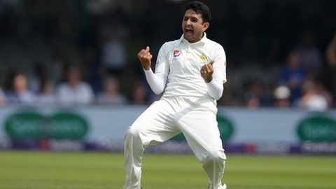 Pakistan's Mohammad Abbas celebrates after taking the wicket ofEngland's Jos Butler lbw during the fourth day of play of the first test cricket match between England and Pakistan at Lord's cricket ground in London, Sunday, May 27, 2018. (AP Photo/Alastair Grant)