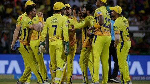 Chennai Super Kings player celebrates the dismissal of Sunrisers Hyderabad's Shikhar Dhawan during VIVO IPL cricket T20 final match in Mumbai, India, Sunday, May 27, 2018. (AP Photo/Rafiq Maqbool)