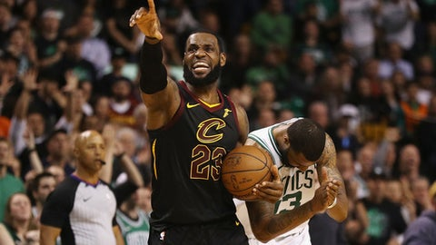 BOSTON, MA - MAY 27:  LeBron James #23 of the Cleveland Cavaliers reacts in the second half against the Boston Celtics during Game Seven of the 2018 NBA Eastern Conference Finals at TD Garden on May 27, 2018 in Boston, Massachusetts. (Photo by Maddie Meyer/Getty Images)
