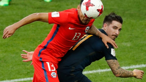 FILE- In this June 25, 2017 file photo, Chile's Paulo Cesar Diaz Huincales, left, challenges for the ball with Australia's Jamie Maclaren, right, during the Confederations Cup, Group B soccer match between Chile and Australia, at the Spartak Stadium in Moscow. Striker Jamie Maclaren has been recalled to Australia's preliminary World Cup squad because of concerns over the fitness of Tomi Juric. (AP Photo/Alexander Zemlianichenko, File)
