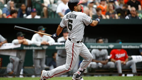 Washington Nationals' Anthony Rendon watches his three-run home run in the third inning of an interleague baseball game against the Baltimore Orioles, Monday, May 28, 2018, in Baltimore. (AP Photo/Patrick Semansky)