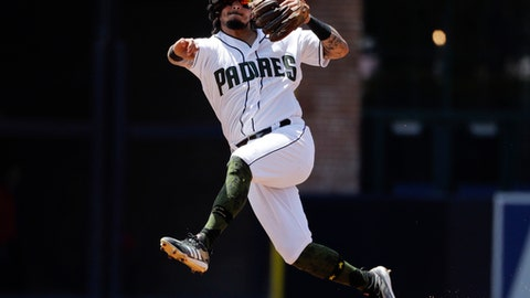 San Diego Padres shortstop Freddy Galvis throws to first for an out against Miami Marlins' Justin Bour during the third inning of a baseball game Monday, May 28, 2018, in San Diego. (AP Photo/Gregory Bull)