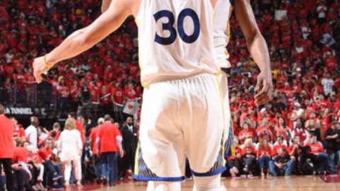 HOUSTON, TX - MAY 28: Kevin Durant #35 and Stephen Curry #30 of the Golden State Warriors hug during the game against the Houston Rockets during Game Seven of the Western Conference Finals of the 2018 NBA Playoffs on May 28, 2018 at the Toyota Center in Houston, Texas. (Photo by Andrew D. Bernstein/NBAE via Getty Images)