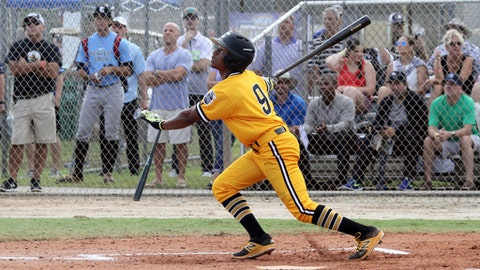 In this Oct. 21, 2017, photo provided by John Whittle, Canes baseball player Xavier Edwards bats against DRB Elite during the WWBA (World Wood Bat Association) championships in Jupiter, Fla. A bona fide switch-hitter, the Florida native is among just six on MLB.coms list of top 100 prospects for the amateur draft that starts June 4. (John Whittle via AP)