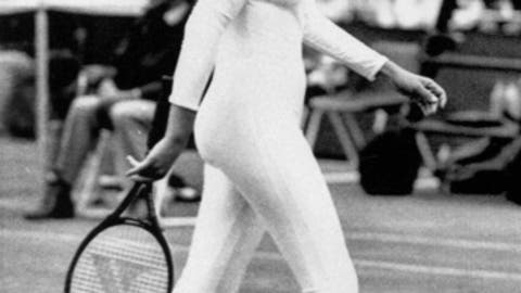 In this June 28, 1985 file photo tennis player Anne White of the U.S. is shown in a tight fitting body suit, which she has been banned from wearing in her resumed match tomorrow, against fellow American Pam Shriver. Serena Williams of the U.S. played her first round French Open match against Krystina Pliskova of the Czech Republic in a all-black bodysuit. (AP Photo/Seelan Naidoo)