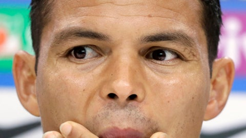 Brazil's Thiago Silva listens during a press conference in London, Tuesday, May 29, 2018. Brazil will play Croatia in a pre-world cup friendly at Anfield Stadium in Liverpool, England on Sunday. (AP Photo/Kirsty Wigglesworth)