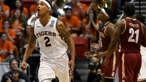 Auburn guard Bryce Brown (2) reacts during the second half of a first-round NCAA college basketball tournament game against Charleston, Friday, March 16, 2018, in San Diego. (AP Photo/Denis Poroy)