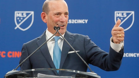 Major League Soccer Commissioner Don Garber speaks during an event to announce the addition of FC Cincinnati as an MLS expansion team, Tuesday, May 29, 2018, at Rhinegeist Brewery in Cincinnati.Major League Soccer added Cincinnati in its latest round of expansion Tuesday, rewarding a city that has set attendance records during three seasons of United Soccer League play and has a stadium deal in place.    The announcement on Tuesday brings MLS to 26 teams, two shy of its ultimate goal. It began as a 10-team league in 1996.    Cincinnati will join next year, continuing to play at the University of Cincinnati's football stadium while a 21,000-seat soccer stadium is built in the city's low-income West End neighborhood. The stadium is expected to be ready for the 2021 season.