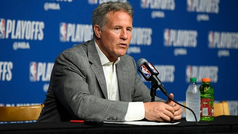 BOSTON, MA - MAY 9:  Brett Brown of the Philadelphia 76ers talks to the media after the game against the Boston Celtics in Game Five of the Eastern Conference Semifinals of the 2018 NBA Playoffs on May 9, 2018 at TD Garden in Boston, Massachusetts. (Photo by Brian Babineau/NBAE via Getty Images)