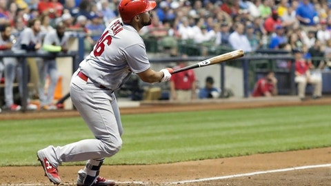 St. Louis Cardinals' Francisco Pena hits a home run during the eighth inning of a baseball game against the Milwaukee Brewers Tuesday, May 29, 2018, in Milwaukee. (AP Photo/Morry Gash)
