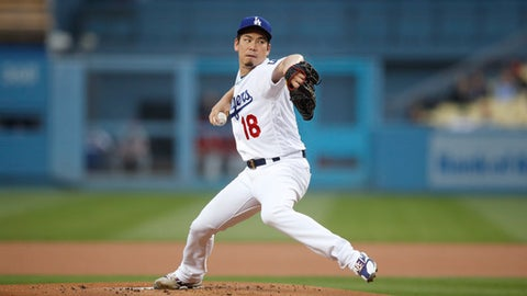 Los Angeles Dodgers starting pitcher Kenta Maeda throws to a Philadelphia Phillies batter during the first inning of a baseball game Tuesday, May 29, 2018, in Los Angeles. (AP Photo/Jae C. Hong)