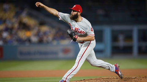 Philadelphia Phillies starting pitcher Jake Arrieta throws to a Los Angeles Dodgers batter during the fourth inning of a baseball game Tuesday, May 29, 2018, in Los Angeles. (AP Photo/Jae C. Hong)