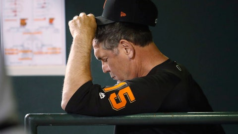 San Francisco Giants manager Bruce Bochy adjusts his cap as he watches relief pitcher Ty Blach struggle against the Colorado Rockies during the eighth inning of a baseball game Tuesday, May 29, 2018, in Denver. The Rockies won 11-4. (AP Photo/David Zalubowski)