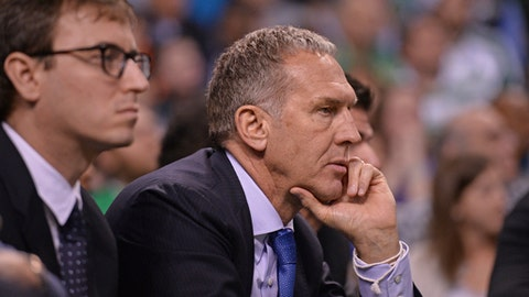 BOSTON, MA - MAY 9:  Bryan Colangelo of the Philadelphia 76ers looks on during Game Five of the Eastern Conference Semifinals of the 2018 NBA Playoffs against the Boston Celtics on May 9, 2018 at TD Garden in Boston, Massachusetts. (Photo by David Dow/NBAE via Getty Images)