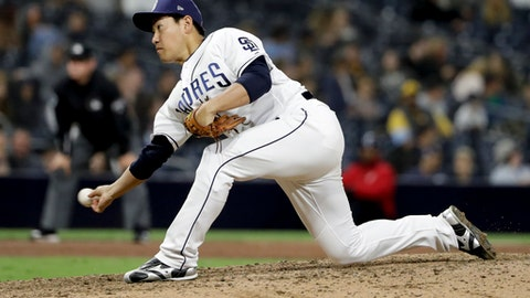 San Diego Padres relief pitcher Kazuhisa Makita works against a Miami Marlins batter during the ninth inning of a baseball game Tuesday, May 29, 2018, in San Diego. (AP Photo/Gregory Bull)