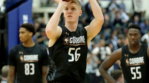 Kevin Huerter, from Maryland, participates in the NBA draft basketball combine Thursday, May 17, 2018, in Chicago. (AP Photo/Charles Rex Arbogast)